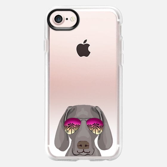Weimaraner sunglasses ombre clear transparent cell phone case for dog lovers - Classic Grip Case