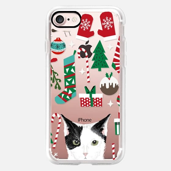 Black and White cat cute christmas cell phone case for cat lady cat lover cat man -