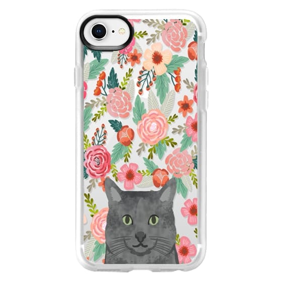 new product aec62 7de94 Impact iPhone X Case - Grey Cat floral clear transparent cell phone case  for cat lover tech accessories