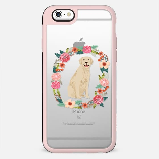 golden retriever floral wreath clear case new iphone dog lover pet friendly