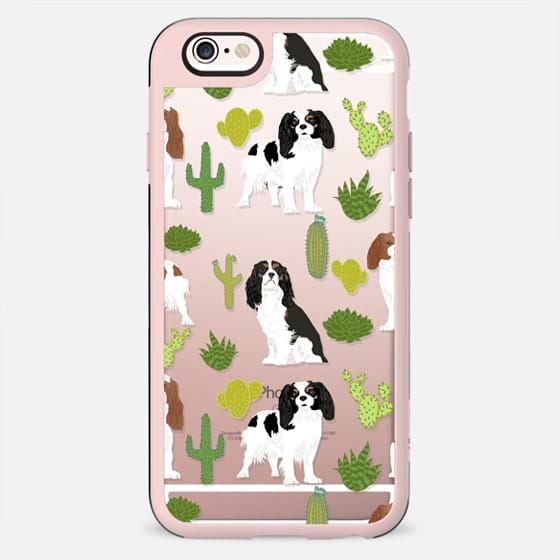 Cavalier King Charles Spaniel dog portrait custom clear cell phone iPhone case for dog lover with spaniel breed - New Standard Case