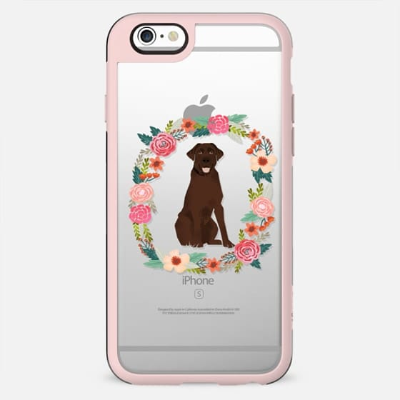 chocolate lab clear case dog breed cute floral wreath pet friendly pupper gifts