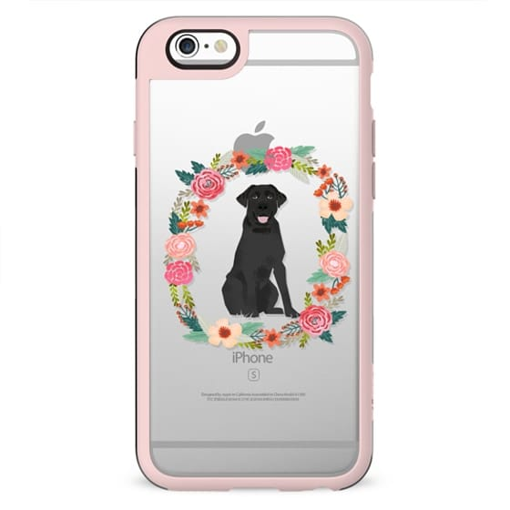 Black Lab clear case dog breed cute floral wreath pet friendly pupper gifts