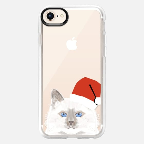 Cute White fluffy cat with santa hat christmas cell phone case transparent cat lady gift iphone case with white cat - Snap Case