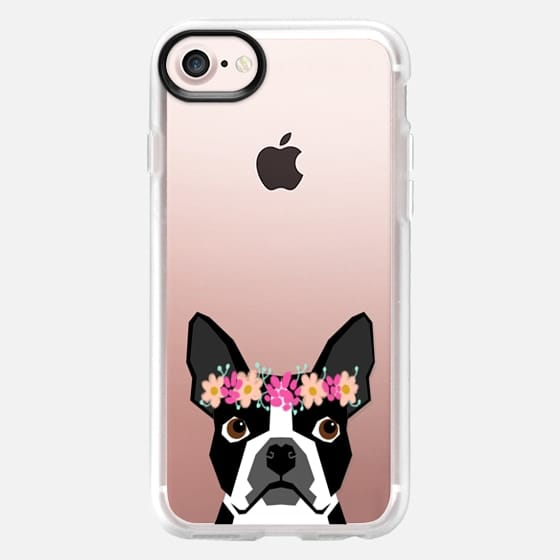 Boston Terrier flower crown headband funny cell phone case with boston terrier -