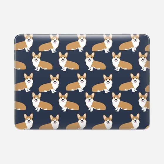 Corgi print pattern navy cute gift for dog person with welsh corgi gift love macbook sleeve tech accessories corgi - Macbook Snap Case