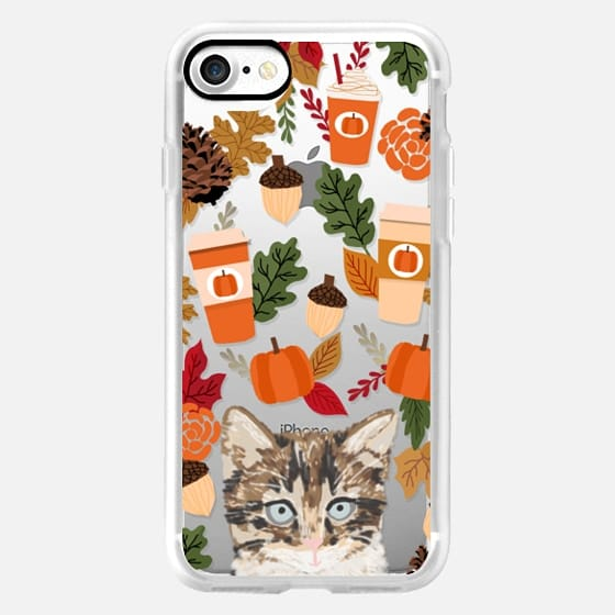 cutest kitten cell phone case transparent for fall autumn leaves coffee pumpkin spiced lattes -