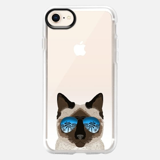 Siamese cat sunglasses ombre clear transparent cell phone case for cats lovers - Snap Case