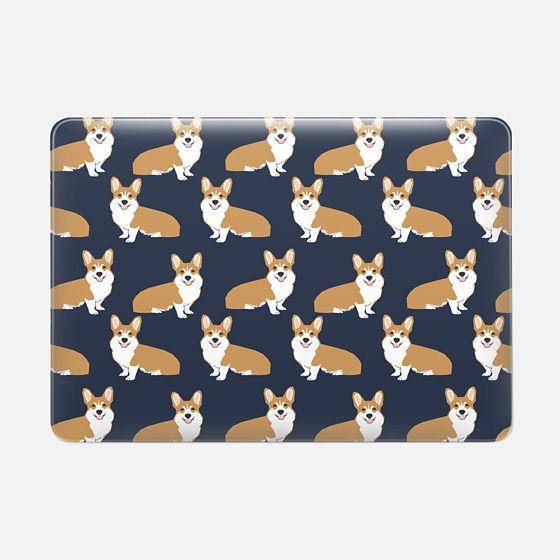 Corgi print pattern navy cute gift for dog person with welsh corgi gift love macbook sleeve tech accessories corgi