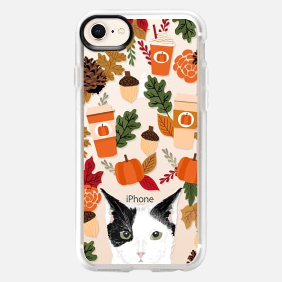 cute black and white cat breed must have autumn leaves fall pumpkin spice latte coffee cell phone - Snap Case