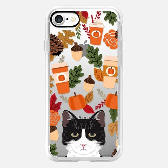 tuxedo black and white cat lover cat lady fall autumn pumpkin spiced latte coffee addict transparent iphone case -
