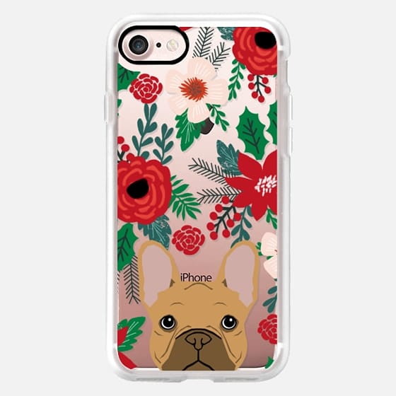 French Bulldog tan fawn cute frenchie gift idea christmas holiday holly red and green -