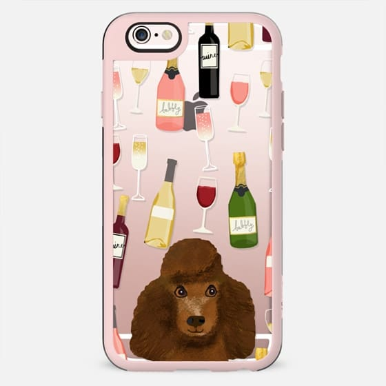 Toy Poodle brown wine champagne cocktails bubbly cute cell phone clear case dog breeds - New Standard Case