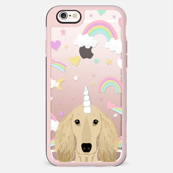 Dachshund isabella coat unicorn and rainbows clear case transparent cell phone dog pet friendly gifts - New Standard Case
