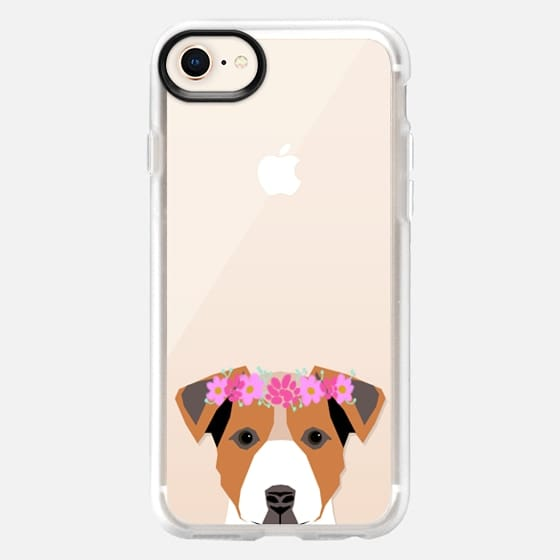 Cute jack russell terrier Wes Anderson cell phone case happy puppy with flowers - Snap Case