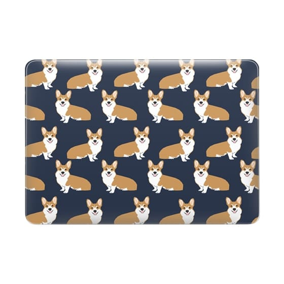 Corgi print pattern navy cute gift for dog person with welsh corgi gift love macbook sleeve tech accessories corgi
