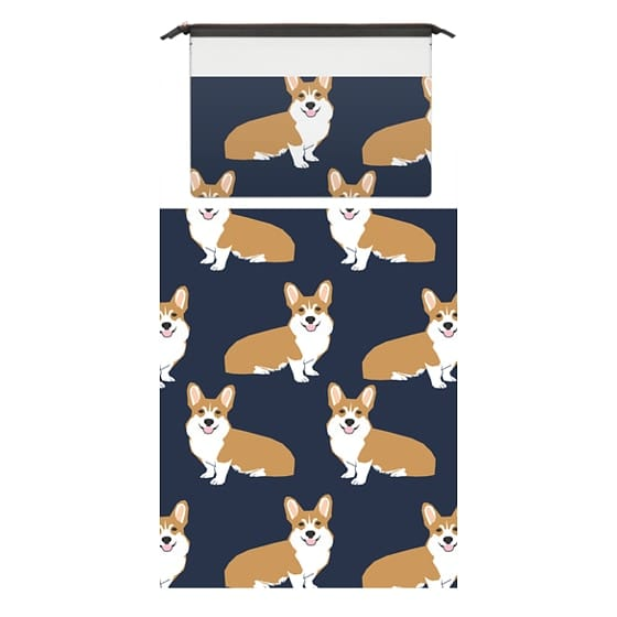 MacBook 12 Sleeves - Corgi print pattern navy cute gift for dog person with welsh corgi gift love macbook sleeve tech accessories corgi