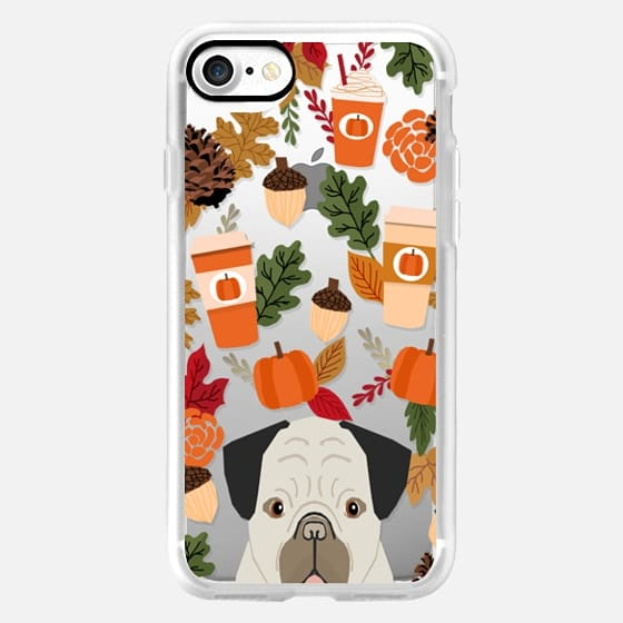 Pug funny pug cell phone case for fall leaves gifts for back to school dog person pumpkin spiced latte season