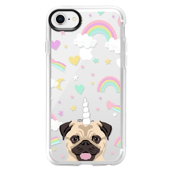 quality design def13 f20a2 Impact iPhone 8 Case - Pug pastel unicorns rainbows clear cell phone case  for pug lovers dog breed gifts