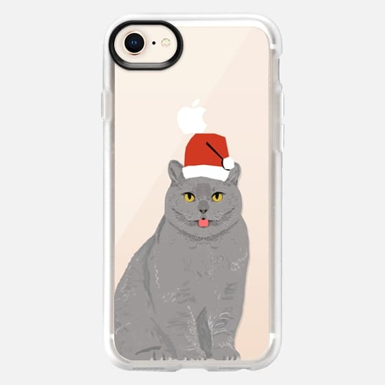 Beautiful cat with christmas hat cell phone transparent case for christmas holiday outfit for cat - Snap Case