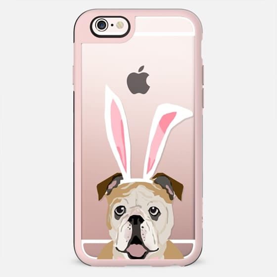 English Bulldog easter bunny holiday funny clear case iPhone tech accessories for dog lovers