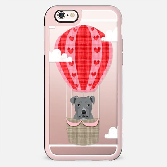 Pitbull grey coat dog breed cute cell phone case with hot air balloon funny kids