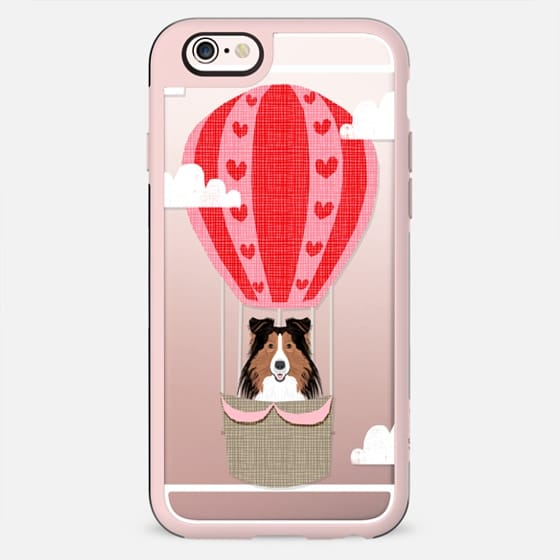 Shetland Sheepdog sheltie dog breed hot air balloon illustration cute kids clear cell phone case