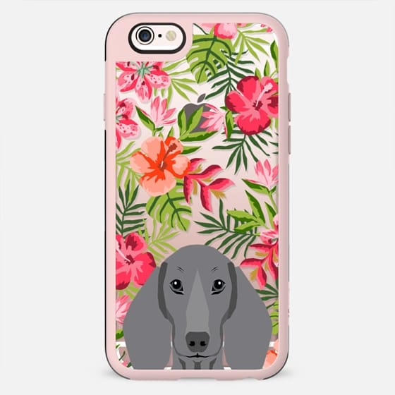 Dachshund dachsie grey coat dog breed hawaiian florals tropical summer clear case by pet friendly - New Standard Case