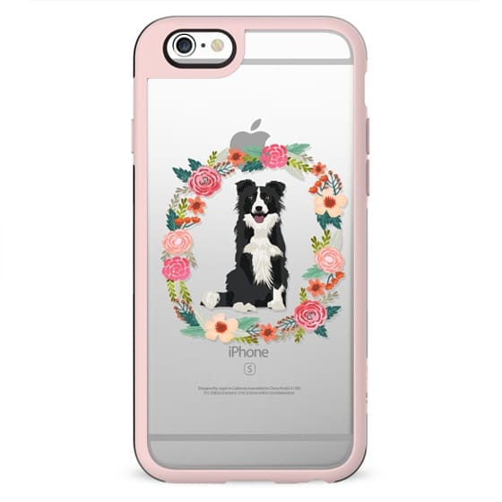 border collie bw floral wreath clear case new iphone dog lover pet friendly