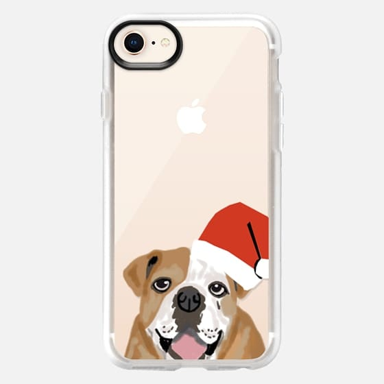 English Bulldog with santa hat - Snap Case