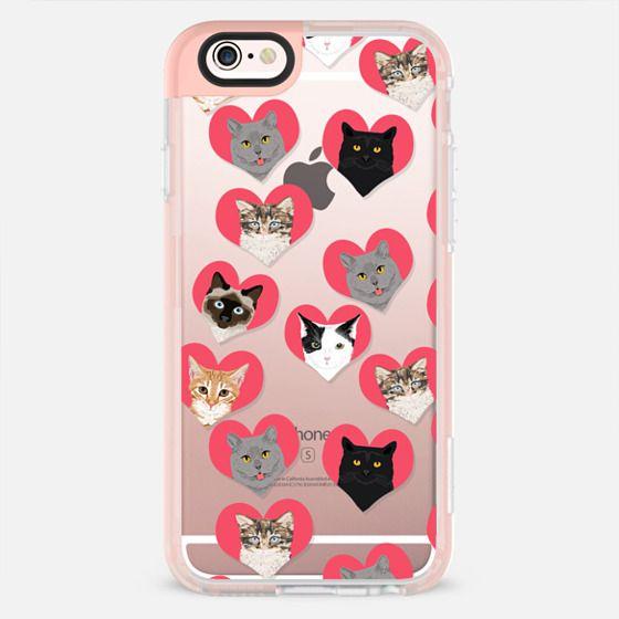 Cat Love - cute hearts cat cats iphone 6 case, cats hearts, love cats, cats clear case, cute cats -