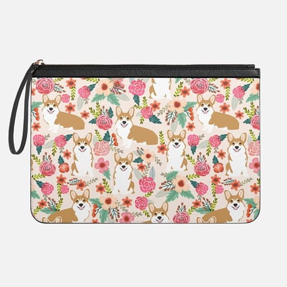 Welsh Corgi florals pastel pink blooms bouquets of hipster flowers corgi laptop macbook sleeve