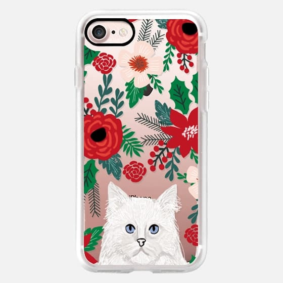 White Cat fluffy white christmas holiday cat lover gifts mistletoe and holly florals red and green -