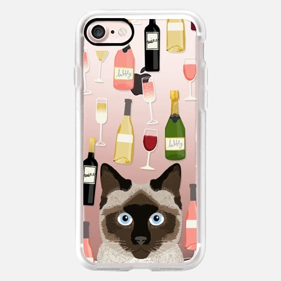 Siamese cat breed cat lover cell phone case for cat lady wine cocktail party gifts -