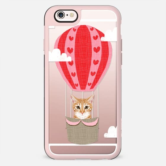 Orange Tabby cat hot air balloon clear transparent cell phone case pet friendly