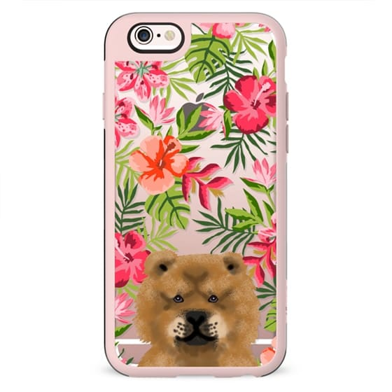 Chow Chow dog breed hawaiian florals tropical summer clear case by pet friendly