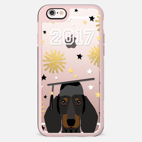 Dachshund black and tan coat dog breed pet portrait clear cell phone case transparent graduation gifts 2017 - New Standard Case