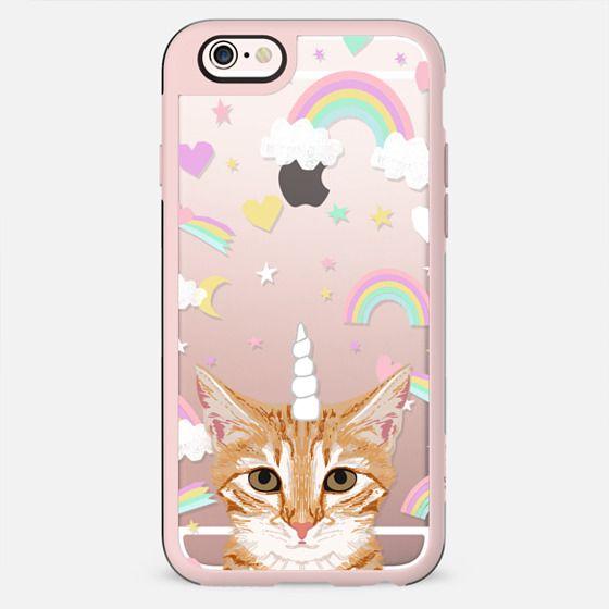 Orange Tabby Cat unicorns and rainbows pet portrait clear case transparent tech accessories pet friendly