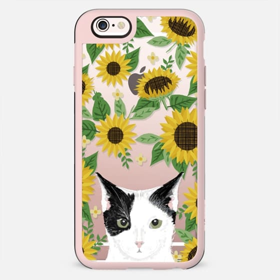 Black and white Cat sunflowers floral sunflower pattern cell phone clear case transparent pet friendly gifts