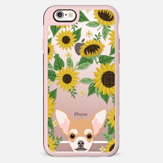 Chihuahua sunflowers floral sunflower pattern cell phone clear case transparent pet friendly gifts
