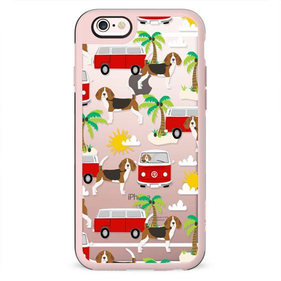 Beagle beach mini bus hippie summer cell phone case clear transparent dog lover beagles
