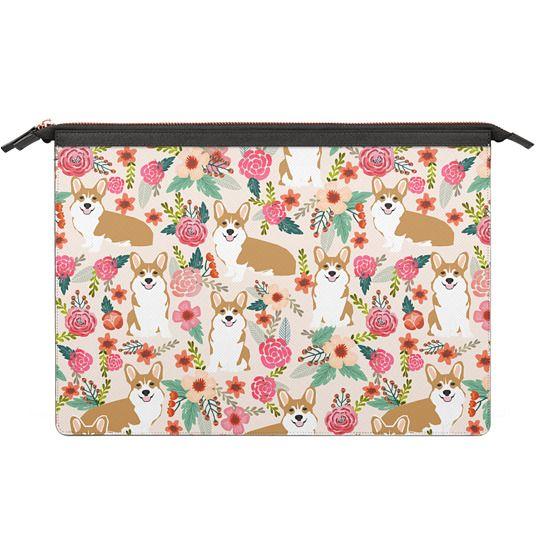 MacBook 12 Sleeves - Welsh Corgi florals pastel pink blooms bouquets of hipster flowers corgi laptop macbook sleeve