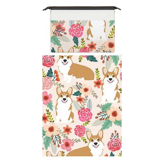 MacBook Pro 15 Sleeves - Welsh Corgi florals pastel pink blooms bouquets of hipster flowers corgi laptop macbook sleeve