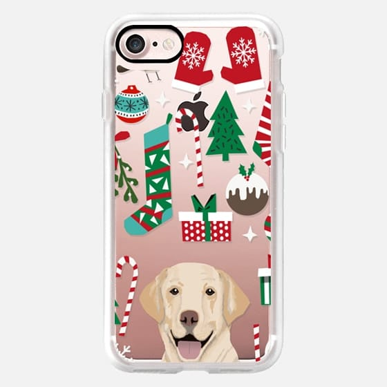 Yellow Lab christmas ornament clear transparent cell phone case for dog lover dog breed holiday