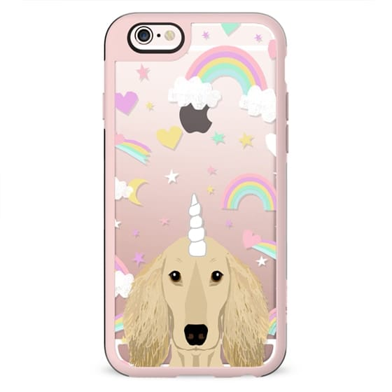 Dachshund isabella coat unicorn and rainbows clear case transparent cell phone dog pet friendly gifts