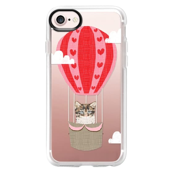 iPhone 7 Plus Cases - Kitten cell phone case clear tech accessories hot air balloon fun kids design