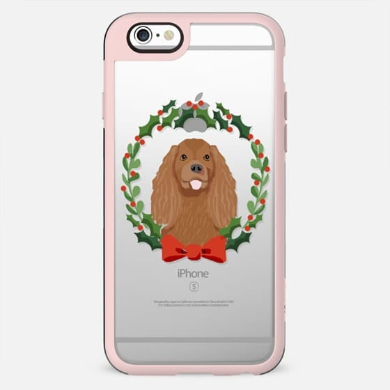 Cavalier Spaniel ruby coat dog king charles spaniel breed christmas holiday clear pet friendly tech accessories wreath - New Standard Case