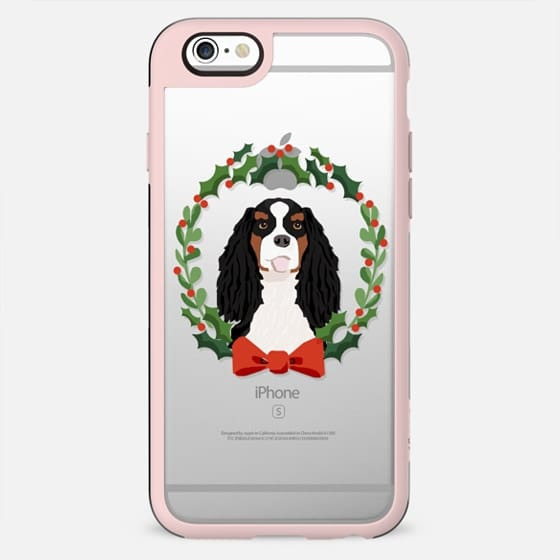 Cavalier Spaniel tricolored king charles spaniel dog breed christmas holiday clear pet friendly tech accessories wreath