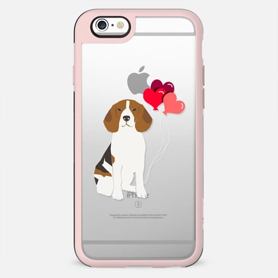 Beagle valentines day love hearts cute clear cases for pure breed dog lovers - New Standard Case