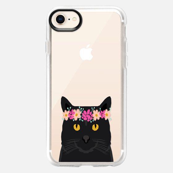 Black Cat love flower crown florals design with black cat cell phone case transparent unique cat - Snap Case